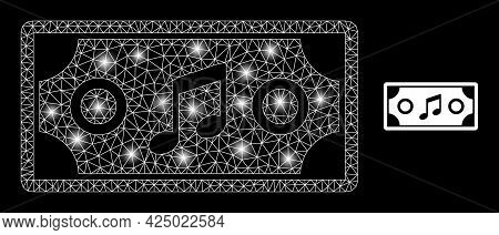 Magic Mesh Vector Concert Ticket With Glare Effect. White Mesh, Glare Spots On A Black Background Wi
