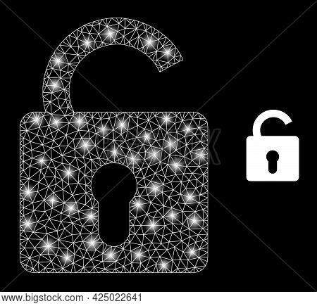 Glossy Mesh Vector Unlock With Glow Effect. White Mesh, Bright Spots On A Black Background With Unlo