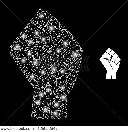 Glossy Mesh Vector Fist With Glow Effect. White Mesh, Glare Spots On A Black Background With Fist Ic