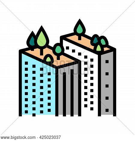 Tree Gardening On Skyscraper Roof Color Icon Vector. Tree Gardening On Skyscraper Roof Sign. Isolate