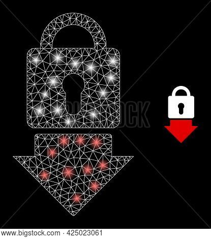 Magic Mesh Vector Lock Down With Glare Effect. White Mesh, Glare Spots On A Black Background With Lo