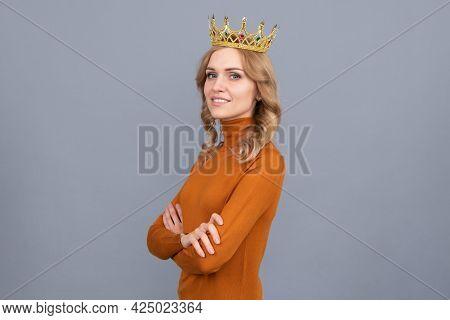 Self Confident Queen. Expressing Smug. Arrogant Princess In Tiara. Proud Woman Smiling.