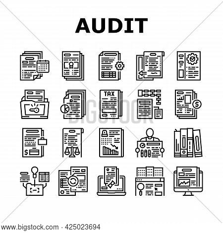 Business Finance Audit Collection Icons Set Vector. Comparative Analysis And Tax Accounting, Audit O