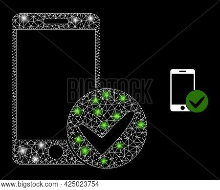 Glossy Mesh Vector Approved Smartphone With Glare Effect. White Mesh, Glare Spots On A Black Backgro