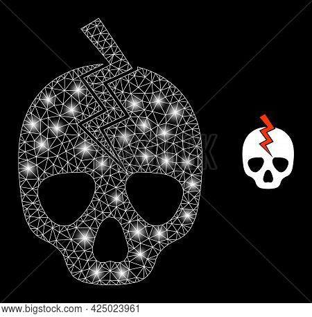 Glossy Mesh Vector Death Strike With Glow Effect. White Mesh, Glare Spots On A Black Background With