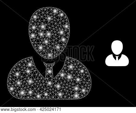 Magic Mesh Vector User Profile With Glare Effect. White Mesh, Glare Spots On A Black Background With