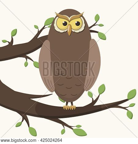 Vector Simple Isolated Illustration. Cartoon Character Owl Or Eagle Owl Sitting On A Tree Branch Wit