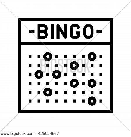 Bingo Game Line Icon Vector. Bingo Game Sign. Isolated Contour Symbol Black Illustration