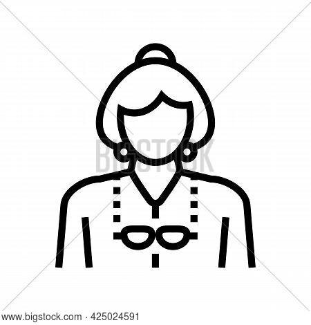 Elderly Woman Grandmother Line Icon Vector. Elderly Woman Grandmother Sign. Isolated Contour Symbol