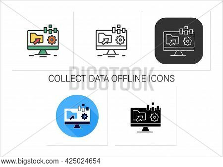 Collect Data Offline Icons Set.apps Include Forms Are Created Online, Can Filled Without Internet Ac