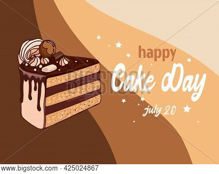 Vector Illustration In Vintage Style Appetizing Chocolate Cake, Marshmallow With Lettering. Internat