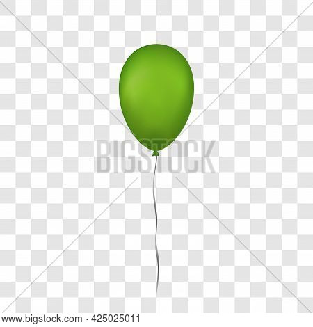 Green Balloon 3d, Thread, Isolated White Transparent Background. Color Glossy Flying Baloon, Ribbon