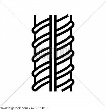 Metallic Rebar Line Icon Vector. Metallic Rebar Sign. Isolated Contour Symbol Black Illustration