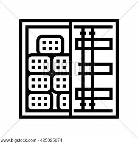 Container Transportation Rebar Line Icon Vector. Container Transportation Rebar Sign. Isolated Conto