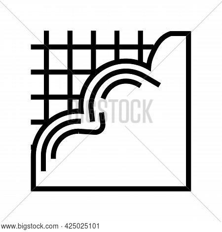 Pouring Concrete Floor Line Icon Vector. Pouring Concrete Floor Sign. Isolated Contour Symbol Black