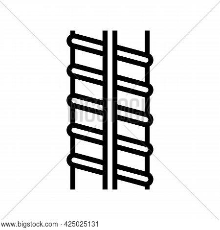 Metal Rebar Line Icon Vector. Metal Rebar Sign. Isolated Contour Symbol Black Illustration