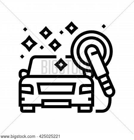 Polish Car Wash Service Line Icon Vector. Polish Car Wash Service Sign. Isolated Contour Symbol Blac