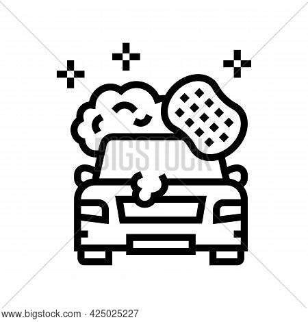 Car Washing Line Icon Vector. Car Washing Sign. Isolated Contour Symbol Black Illustration