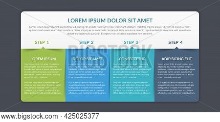 Infographic Template With 4 Elements For Your Text, Vector Eps10 Illustration