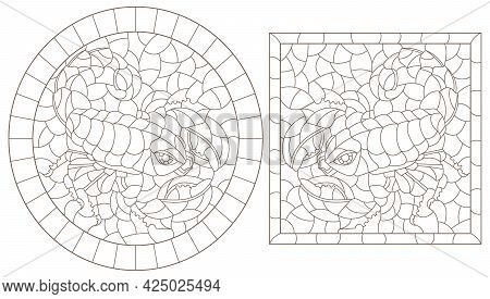 A Set Of Contour Illustrations In The Style Of Stained Glass With Abstract Scorpion, Dark Contours O