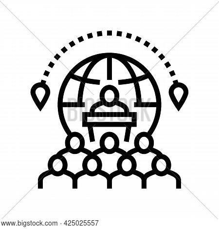 Congress Tourism Line Icon Vector. Congress Tourism Sign. Isolated Contour Symbol Black Illustration