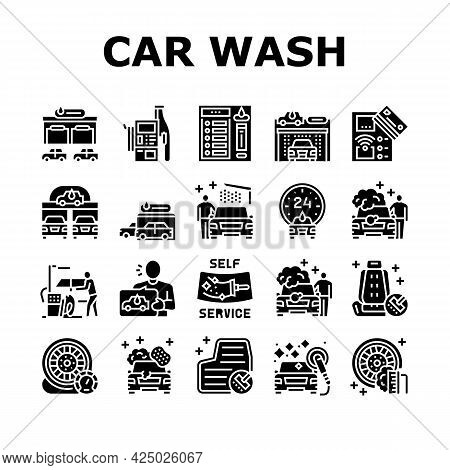 Self Service Car Wash Collection Icons Set Vector. Non Contact Car Wash Station And Equipment, Washi