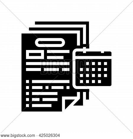 Audit Of Annual And Consolidated Financial Statements Glyph Icon Vector. Audit Of Annual And Consoli