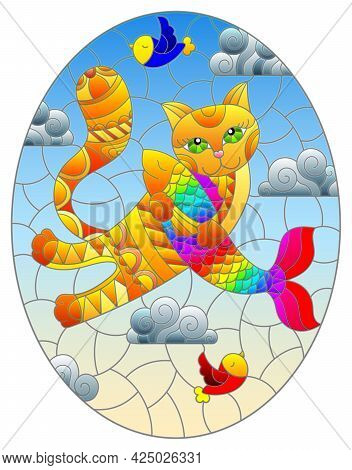 A Stained Glass Illustration With A Cartoon Cat Hugging A Fish Against A Cloudy Sky, Oval Image