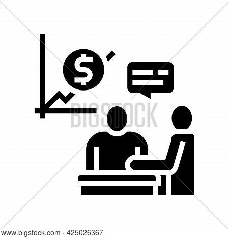 Financial Consultation And Advise Glyph Icon Vector. Financial Consultation And Advise Sign. Isolate