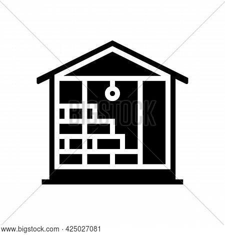 Inside Wall Insulation With Mineral Wool Glyph Icon Vector. Inside Wall Insulation With Mineral Wool