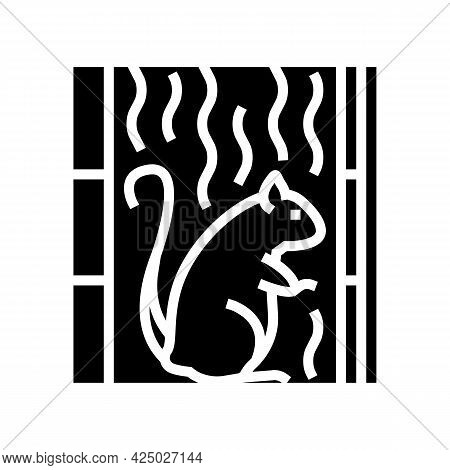 Rat Living In Cotton Wool In Wall Glyph Icon Vector. Rat Living In Cotton Wool In Wall Sign. Isolate