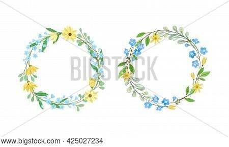 Floral Wreath With Leafy Tree Branch And Blooming Summer Flowers Vector Set