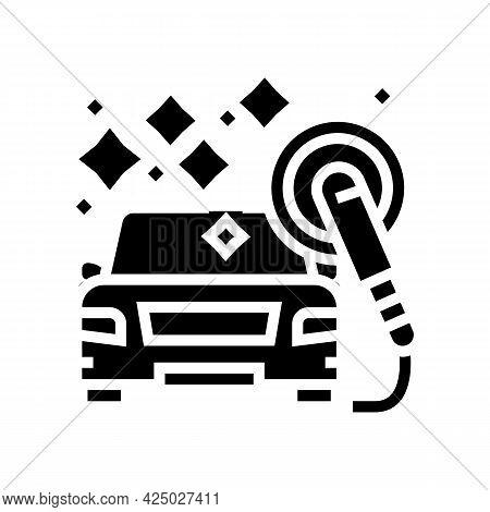 Polish Car Wash Service Glyph Icon Vector. Polish Car Wash Service Sign. Isolated Contour Symbol Bla