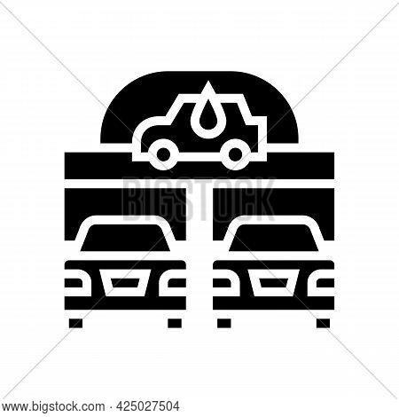 Automatically Car Wash Service Glyph Icon Vector. Automatically Car Wash Service Sign. Isolated Cont