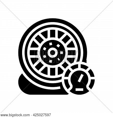 Car Wheel Air Inflating Glyph Icon Vector. Car Wheel Air Inflating Sign. Isolated Contour Symbol Bla