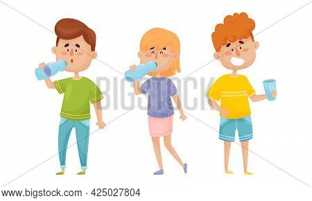 People Character Standing And Drinking Still Mineral Water From Glass And Bottle Vector Illustration