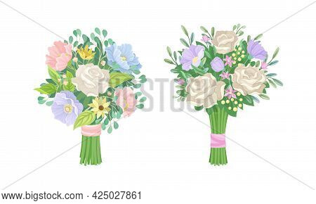 Bunch Of Lush Flowers With Green Leafy Branches Vector Set