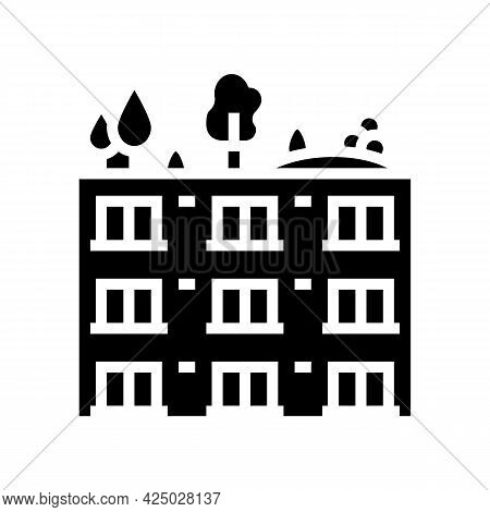 Trees And Bushes On Building Roof Glyph Icon Vector. Trees And Bushes On Building Roof Sign. Isolate