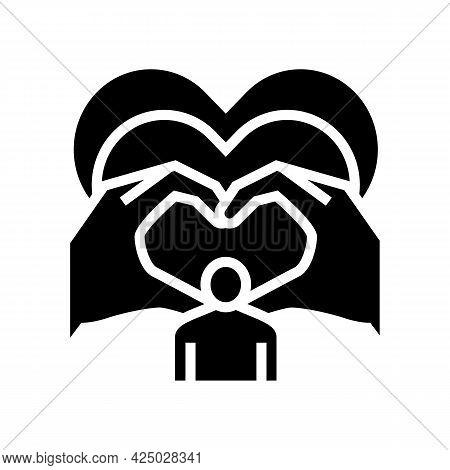 Love Child Adoption Glyph Icon Vector. Love Child Adoption Sign. Isolated Contour Symbol Black Illus