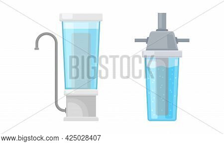 Water Filter Or Water Purifier For Making Liquid Accessible For Drinking Vector Set