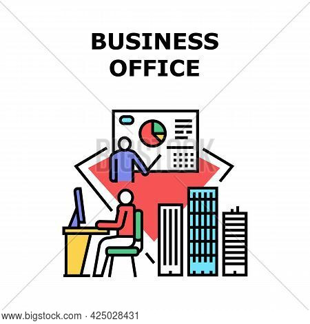 Business Office Vector Icon Concept. Business Office In Skyscraper Building And Workspace For Manage