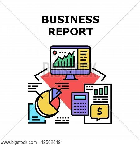 Business Report Vector Icon Concept. Business Report And Accounting Audit, Calculating Money With Di