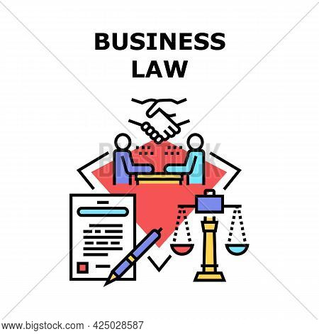 Business Law Vector Icon Concept. Businessman And Lawyer Discussing Contract Deal Or Legal Advice Co