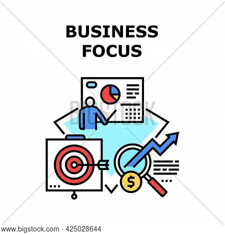 Business Focus Vector Icon Concept. Business Focus And Target. Company Occupation Progress Presentat
