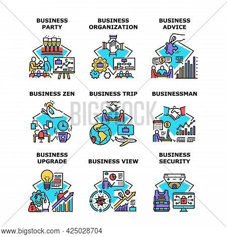 Business Advice Set Icons Vector Illustrations. Business Organization Party And Upgrade, Businessman