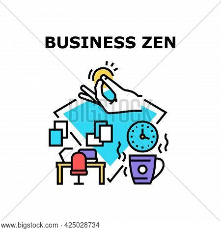 Business Zen Vector Icon Concept. Business Zen Workplace Decoration And Drinking Calming Hot Drink,