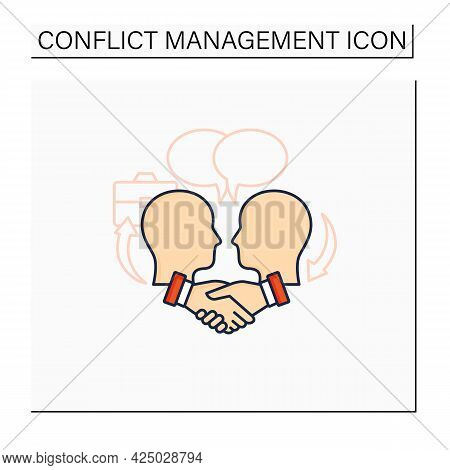 Negotiation Color Icon. Dispute Resolution.compromising. Successfully Handles, Resolves Issues Sensi