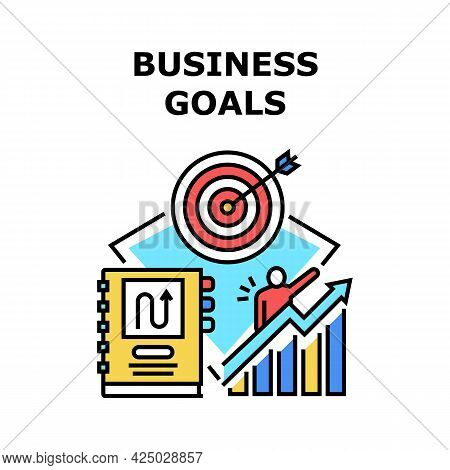 Business Goals Vector Icon Concept. Business Goals In Notebook, Increase Financial Profit And Succes