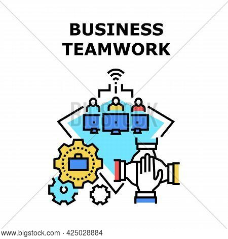 Business Teamwork Occupation Vector Icon Concept. Business Teamwork Occupation In Company Office For