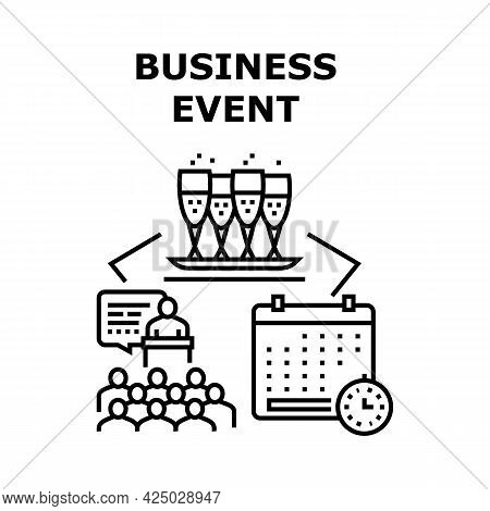 Business Event Vector Icon Concept. Conference And Presentation Meeting, Corporate Party And Festiva